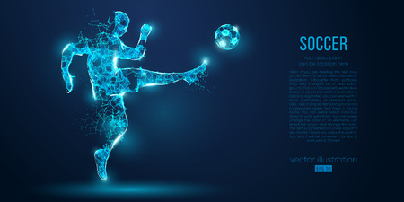 Abstract soccer player, footballer from particles on blue background. Low poly neon wire frame outline football player