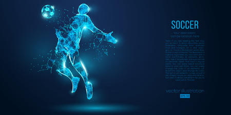 Abstract soccer player, footballer from particles on blue background. Low poly neon wireframe outline football player