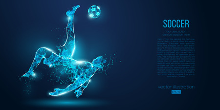 Abstract soccer player, footballer from particles on blue background. Low poly neon wireframe outline football player Çizim