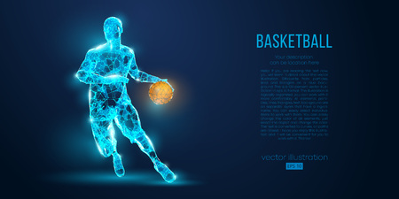 Abstract basketball player from particles, lines and triangles on blue background. Low poly neon wireframe outline Archivio Fotografico - 127741061