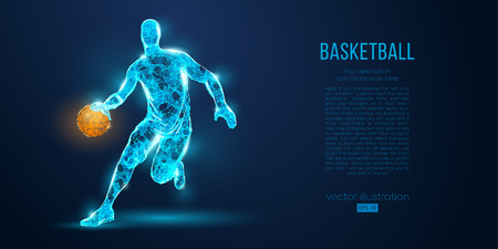 Abstract basketball player from particles, lines and triangles on blue background. Low poly neon wireframe outline Archivio Fotografico - 127741066