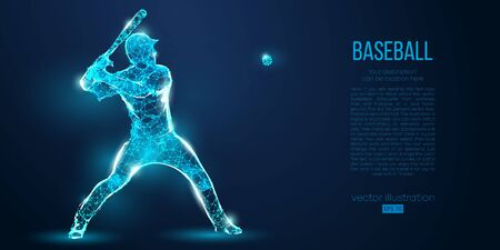 Abstract baseball player from particles, lines and triangles on blue background. All elements on a separate layers, color can be changed to any other. Low poly neon wire outline geometric. Vector