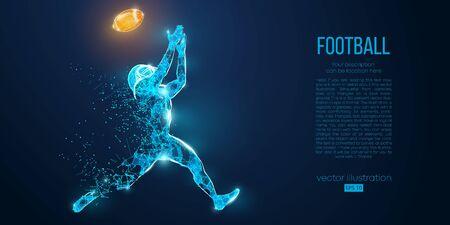 Joueur de football abstrait de particules, de lignes et de triangles sur fond bleu. Le rugby. footballeur américain. Tous les éléments sur des calques séparés, la couleur peut être changée en n'importe quelle autre en un clic. Vecteur