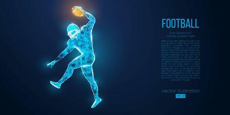 青い背景にパーティクル、線、三角形から抽象的なサッカー選手。ラグビー。アメリカンフットボール選手。個別のレイヤー上のすべての要素は、1