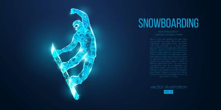 Abstract silhouette of a snowboarder jumping from particles on blue background. All elements on a separate layers color can be changed. Low poly neon wire outline geometric. Vector snowboarding