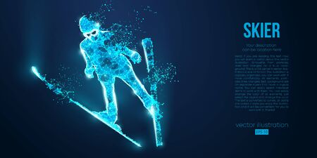 Abstract silhouette of a skier jumping from particles on blue background. All elements on a separate layers color can be changed to any other. Low poly neon wire outline geometric. Vector ski