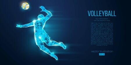 Abstract silhouette of volleyball player man, male with volleyball ball. All elements on a separate layers color can be changed to any other. Low poly neon wire outline geometric. Vector illustration Illustration