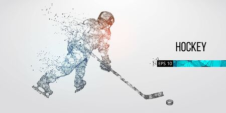 Abstract silhouette of a hockey player from particles. Dots, lines, triangles text color effects and background on a separate layers. Low poly neon wire outline geometric polygonal vector illustration