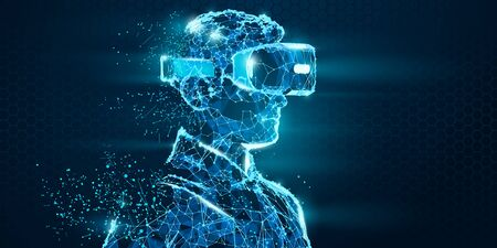 VR headset holographic low poly wireframe vector banner. Polygonal man wearing virtual reality glasses, helmet. VR games playing. Particles, dots, lines, triangles on blue background. Neon light.
