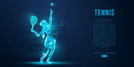 Abstract silhouette of tennis player woman, girl, female with ball and racket. All elements on a separate layers color can be changed to any other. Low poly neon wire outline geometric. Vector