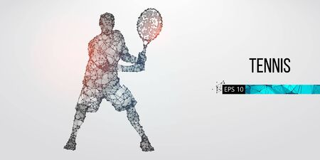 Abstract silhouette of tennis player man, male with ball and racket. All elements on a separate layers color can be changed to any other. Low poly neon wire outline geometric. Vector illustration