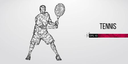 Abstract silhouette of tennis player man, male with ball and racket. All elements on a separate layers color can be changed to any other. Low poly neon wire outline geometric. Vector illustration Ilustração