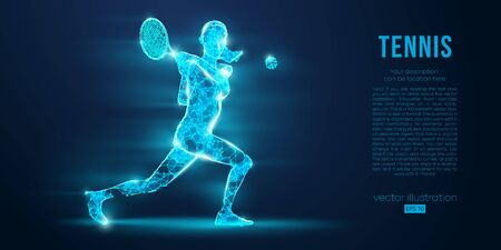 Abstract silhouette of tennis player woman, girl, female with ball and racket. All elements on a separate layers color can be changed to any other. Low poly neon wire outline geometric. Vector Ilustração
