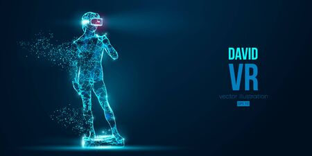 VR headset holographic low poly wire frame banner. Abstract silhouette of the polygonal statue of David, man wearing virtual reality glasses. VR games. Particles on blue background, vector neon