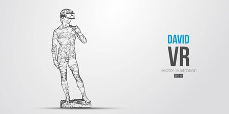 VR headset holographic low poly wire frame banner. Abstract silhouette of the polygonal statue of David, man wearing virtual reality glasses. VR games. Particles, lines on white background, vector