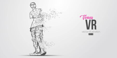 VR headset holographic low poly wire frame banner. Abstract silhouette of the polygonal statue of Venus, woman wearing virtual reality glasses. VR games. Particles, lines on white background, vector Vecteurs