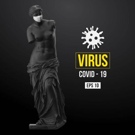 Novel coronavirus COVID-2019. Virus 2019-nCoV . Stay at home. Medical mask and virus protection. Vector illustration Vektoros illusztráció