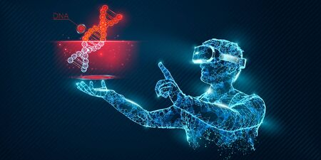 VR wireframe headset vector banner. Polygonal man wearing virtual reality glasses, with holographic of dna code. Science, diagnostics, virtual analytics, analysis. VR games. Thank you for watching