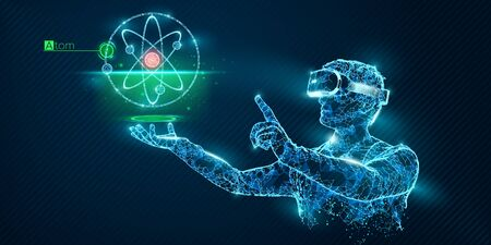 VR wireframe headset vector banner. Polygonal man wearing virtual reality glasses, with holographic of atom. Science, diagnostics, virtual analytics, analysis. VR games. Thank you for watching