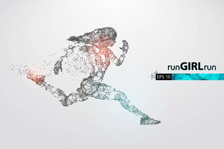 Abstract silhouette of a wireframe running athlete, woman on the white background. Athlete runs sprint and marathon. 矢量图像
