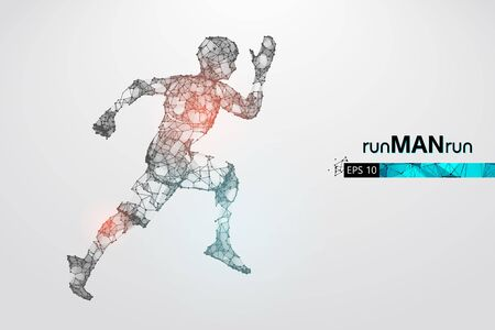 Abstract silhouette of a wireframe running athlete, man on the white background. Athlete runs sprint and marathon. 矢量图像