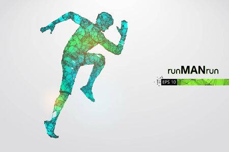 Abstract silhouette of a wireframe running athlete, man on the white background. Athlete runs sprint and marathon. Illustration
