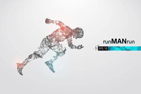 Abstract silhouette of a wireframe running athlete, man on the white background. Athlete runs sprint and marathon. Illusztráció