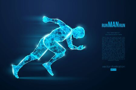 Abstract silhouette of a wireframe running athlete, man on the blue background. Athlete runs sprint and marathon. Convenient organization of eps file. Vector illustration. Thanks for watching Фото со стока - 147057937