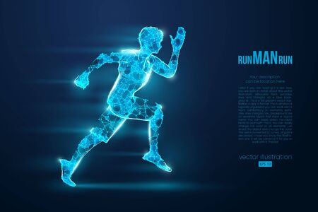 Abstract silhouette of a wireframe running athlete, man on the blue background. Athlete runs sprint and marathon. Convenient organization of eps file. Vector illustration. Thanks for watching Фото со стока - 147057977