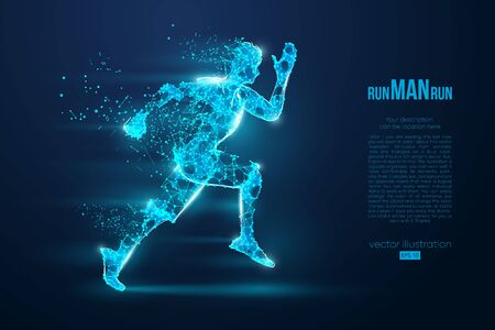 Abstract silhouette of a wireframe running athlete, man on the blue background. Athlete runs sprint and marathon. Convenient organization of eps file. Vector illustration. Thanks for watching Illustration