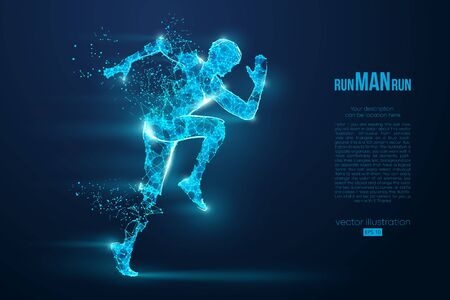 Abstract silhouette of a wireframe running athlete, man on the blue background. Athlete runs sprint and marathon. Convenient organization of eps file. Vector illustration. Thanks for watching Фото со стока - 147058094