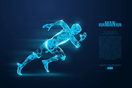 Abstract silhouette of a wireframe running athlete, man on the blue background. Athlete runs sprint and marathon. Convenient organization of eps file. Vector illustration. Thanks for watching Иллюстрация