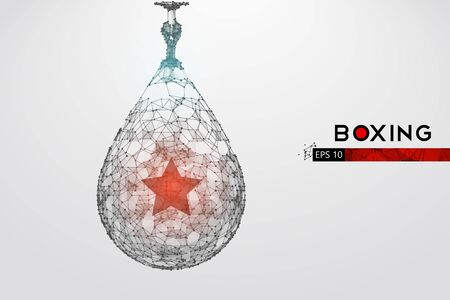 Abstract silhouette of a wireframe punching bag on the white background. Boxing sports equipment. Boxer is winner. Illustration