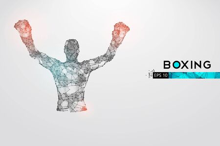 Abstract silhouette of a wireframe boxer fighter with boxing gloves on the white background. Boxer is winner. Illustration