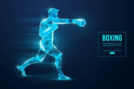 Abstract silhouette of a wireframe boxer fighter with boxing gloves on the blue background. Boxer is winner. Vector