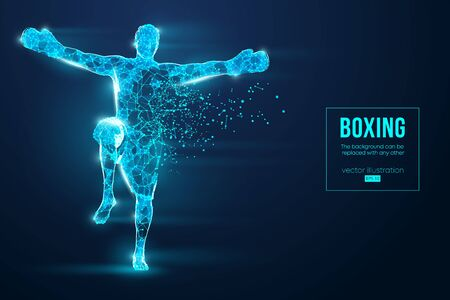 Abstract silhouette of a wireframe boxer fighter with boxing gloves on the blue background. Boxer is winner. Çizim