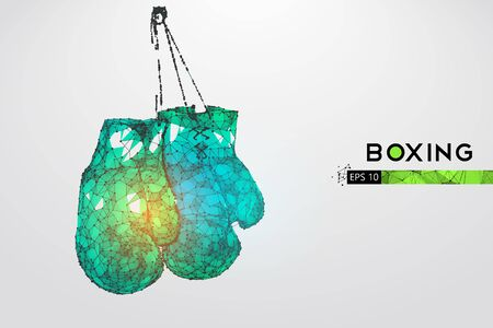 Abstract silhouette of a wireframe boxer gloves on the white background. Boxing sports equipment. Boxer is winner.