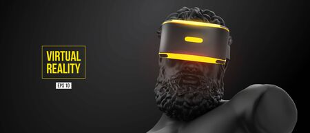 Virtual reality headset. Statue of man wearing virtual reality glasses on black background. VR games. Vector illustration. Thanks for watching