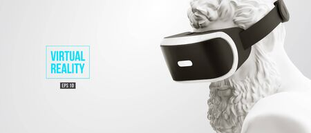 VR headset, future technology concept banner. 3d render of the white statue, man wearing virtual reality glasses on white background. VR games. Vector illustration. Thanks for watching