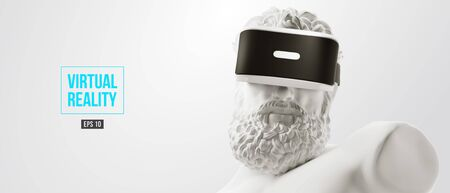 VR headset, future technology concept banner. 3d render of the white statue, man wearing virtual reality glasses on white background. VR games. Vector illustration. Thanks for watching Vector Illustratie