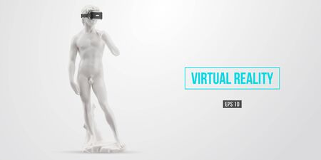 Virtual reality headset. Statue of man wearing virtual reality glasses on white background. VR games. Vector illustration. Thanks for watching Vektorgrafik