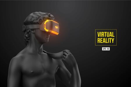 Virtual reality headset. Statue of man wearing virtual reality glasses on black background. VR games. Vector illustration. Thanks for watching Vector Illustratie