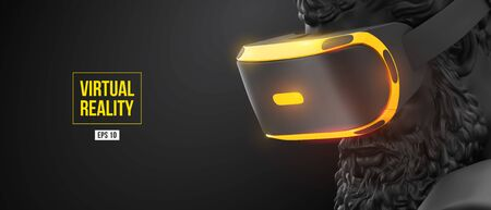 VR headset with neon light. 3d render of the statue of Hercules, man wearing virtual reality glasses on black background