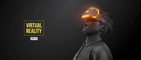 VR headset, technology. 3d of the man, wearing virtual reality glasses on black background. VR games. Vector. You will also find a original jpeg for this image in my portfolio. Thanks for watching