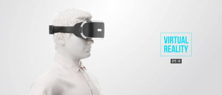 VR headset, technology. 3d of the man, wearing virtual reality glasses on white background. VR games. Vector. You will also find a original jpeg for this image in my portfolio. Thanks for watching