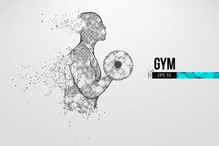 Abstract silhouette of a wireframe bodybuilder. Man on the white background. Gym.