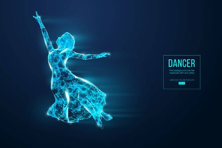 Abstract silhouette of a wireframe dancing woman. Dancer, girl, ballerina on the blue background. Convenient organization of eps file. Vector illustration. Thanks for watching Illustration