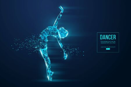 Abstract silhouette of a wireframe dancing woman. Dancer, girl, ballerina on the blue background. Convenient organization of eps file. Vector illustration. Thanks for watching