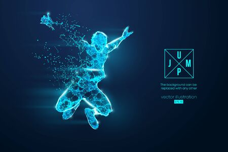 Abstract silhouette of a wireframe jumping man. People in a jump symbolize freedom. Man from particles on the blue background. Convenient organization of eps file. Vector. Thanks for watching