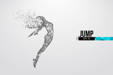 Abstract silhouette of a wireframe jumping woman. People in a jump symbolize freedom. Woman from particles on the white background. Convenient organization of eps file. Vector. Thanks for watching